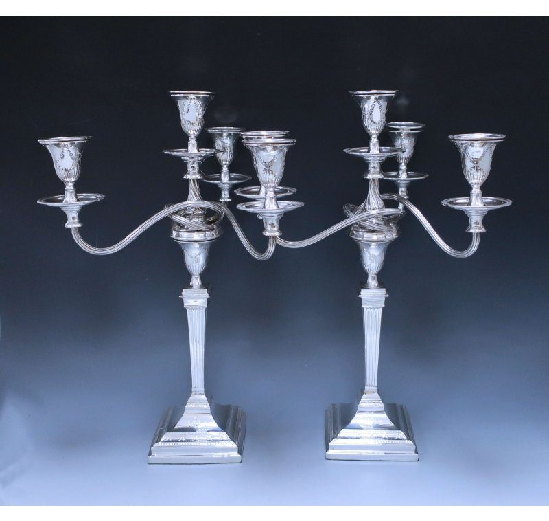 Pair of Edwardian Antique Silver Four Light Candelabra made in 1904