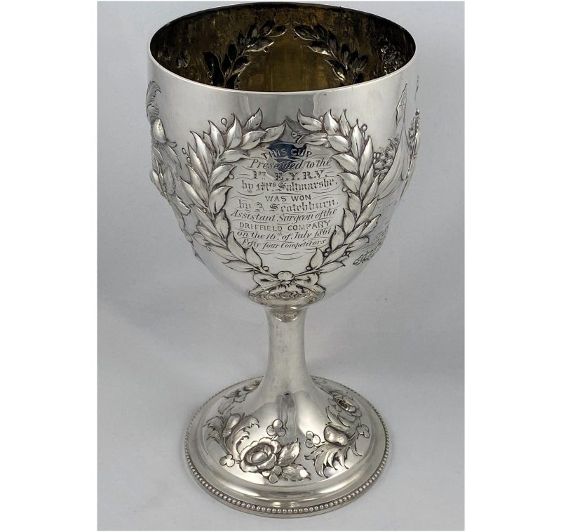 Antique Silver Victorian Goblet of Military Interest made in 1860