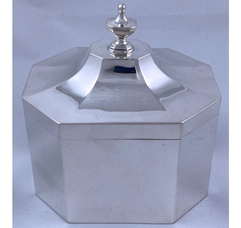 Hallmarked Sterling Silver Tea Caddy/Biscuit Box made in 1927