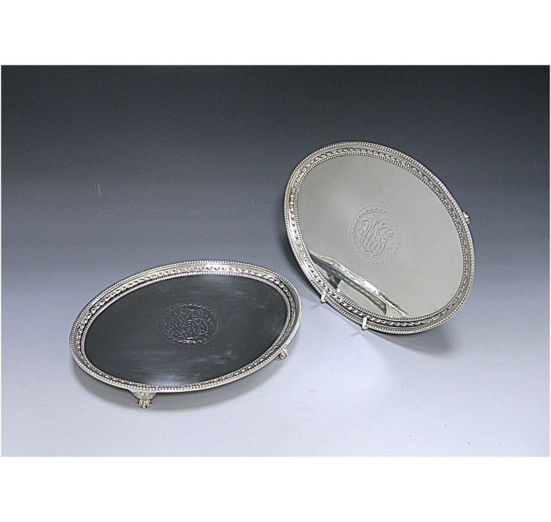 Pair of George III Antique Silver Salvers made in 1784