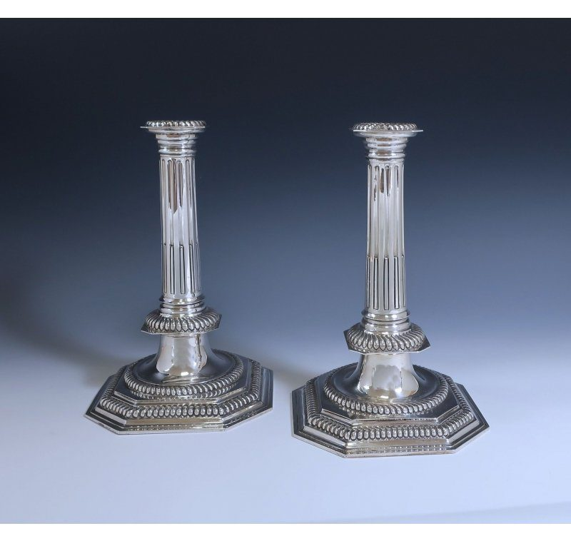Antique Silver Britannia Candlesticks made in 1908