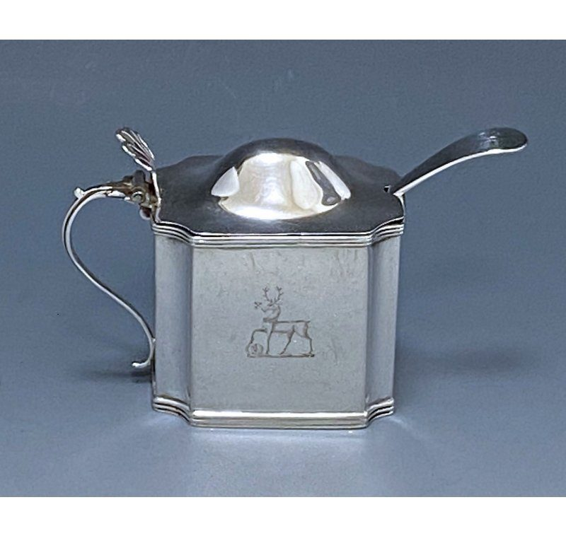 Antique Silver George III Mustard Pot & Spoon made in 1800-01