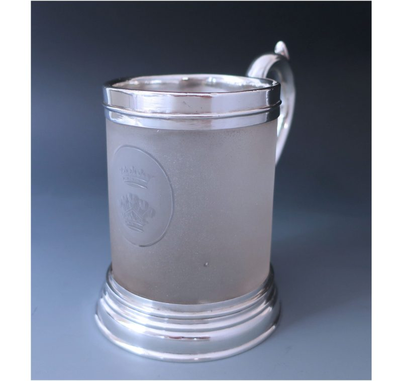 Rare Antique Silver & Frosted Glass Mug made in 1857 for the Duke of Newcastle