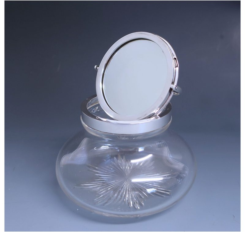 Antique Silver Edward VII Rare Jar with Mirror made in 1908