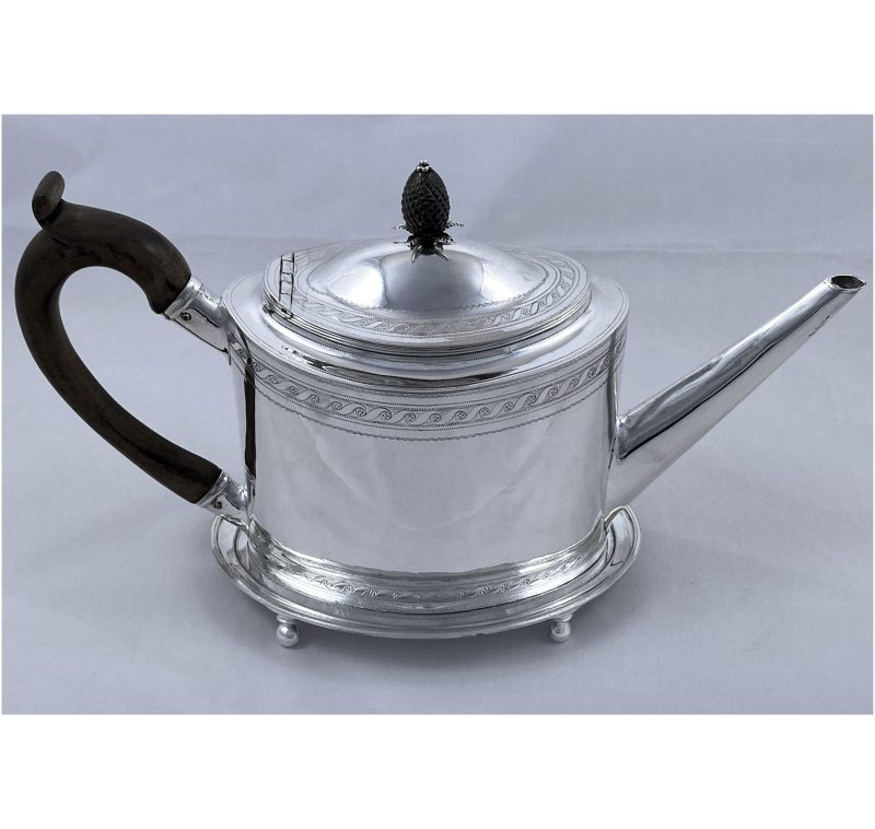 Antique Silver George III Teapot & Stand made in 1799