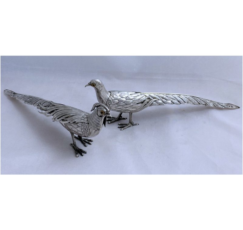Pair of Spanish Silver Pheasants made in c.1950