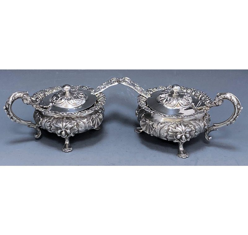 Pair of William IV Antique Silver Mustard Pots made in 1831