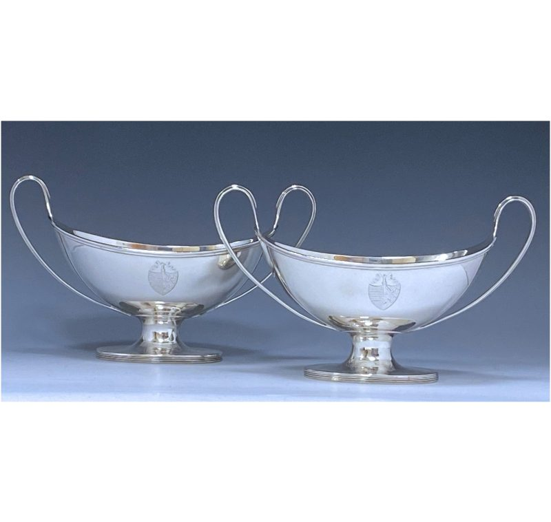 Pair of George III Antique Silver Tureens made in 1791