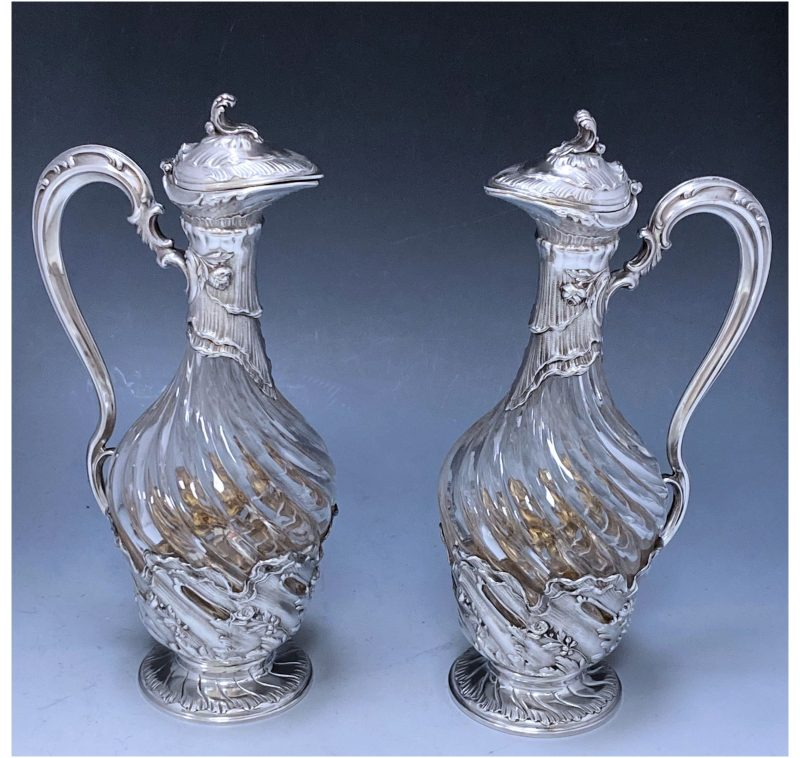 Pair of Victorian Antique Silver Jugs made in c.1885
