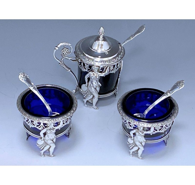 French Antique Silver Napoleonic Period Mustard Pot & Salt Cellars made in c.1815
