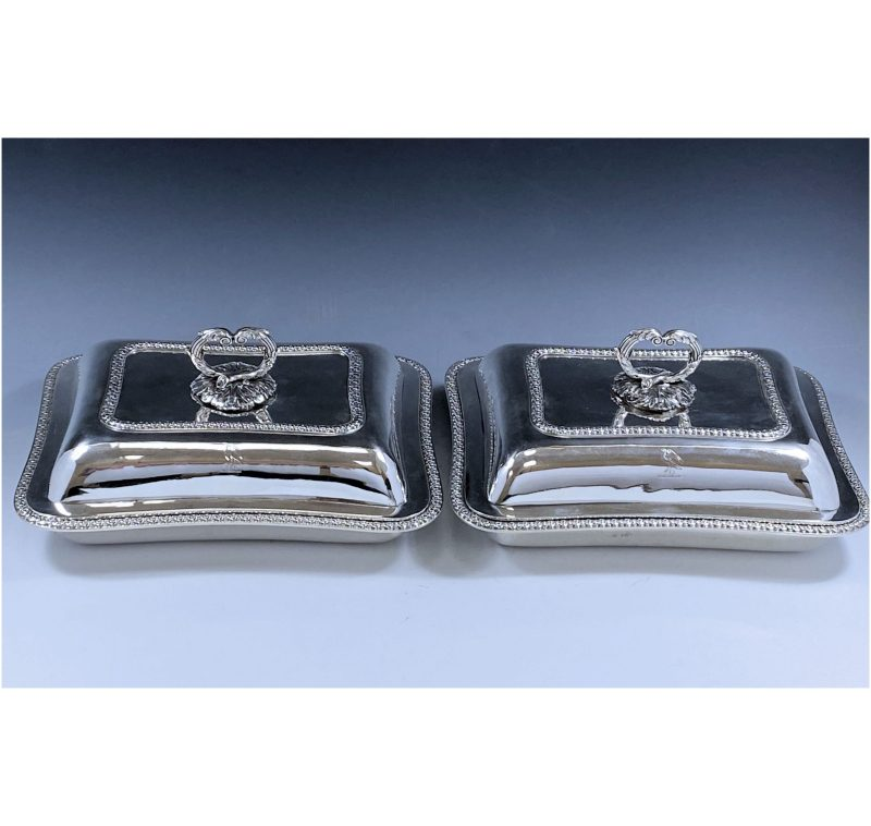 Pair of George III Antique Silver Entree Dishes made in 1817