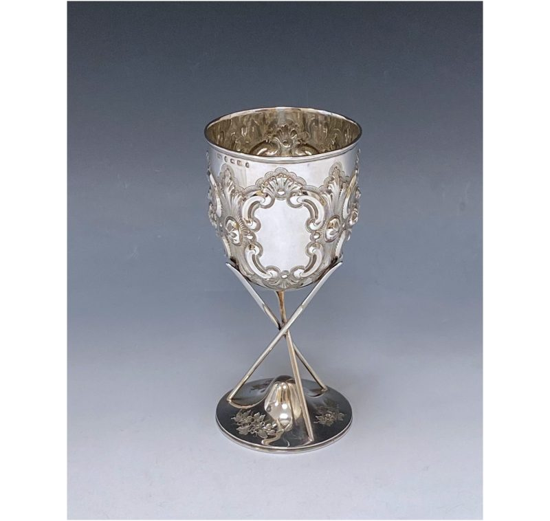 Antique Silver Victorian Goblet of Rowing Interest made in 1874